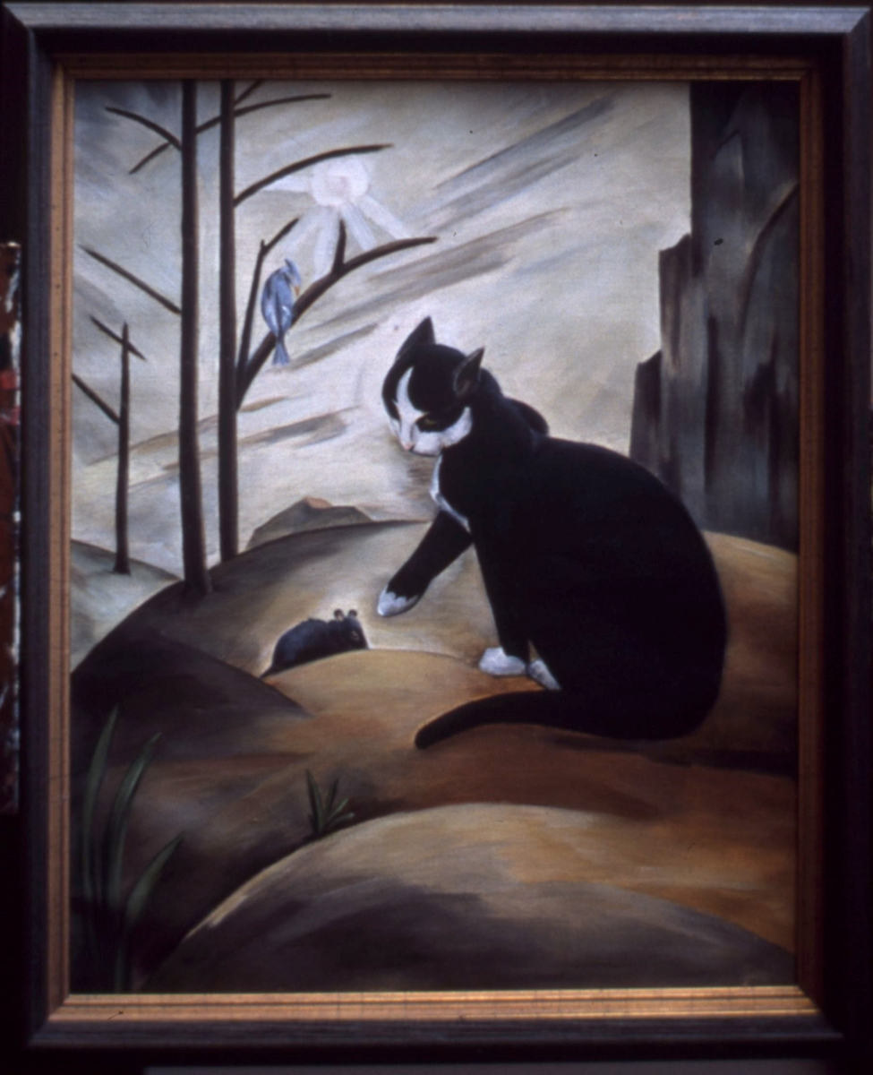 Black Cat, Tufted Titmouse, and Mouse, Woodbury, oil on canvas. 20 x 16.