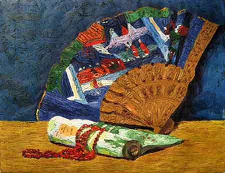 Still Life: Decorated Fan, Rolled Scroll, and Red Necklace. Oil, 16 x 20 in., ca. 1917